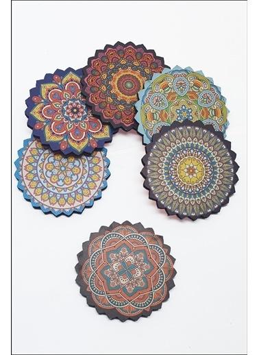 Kitchen Love 6 Lı Ahşap Otantik Desenli Bardak Altlığı-Asorti-9,5Cm Renkli